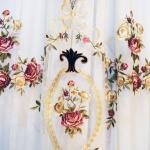Элитная вуаль с художественной вышивкой и аппликацией из бархата