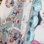 Вуаль в стиле мадам Помпадур, аппликация из бархата придает особый шарм этой ткани