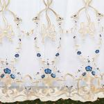 Вуаль в стиле прованс. Классическое сочетание белого и голубово. Нежные букеты из голубых цветов переплетаются с бантами из бархата.