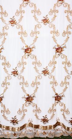 Элитная вуаль 20140801C с крупной розой и классическим вензелем